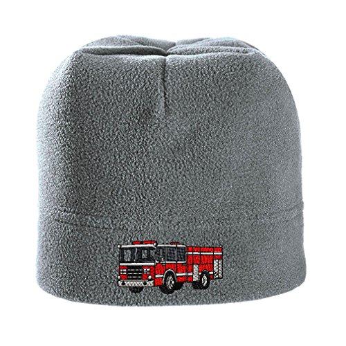 Fire Engine Truck Stile 1 Embroidery Stretch Fleece Beanie Light Grey - Stilo 1 Light