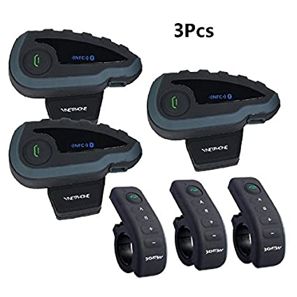 5 Riders Full Duplex Bluetooth Handsfree Intercom Speaker 1 Unit VNETPHONE V8 Motorcycle Helmet Bluetooth Headset,Intercom Communication Speaker Handlebar Remote FM Radio NFC 1200M