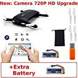 JJRC H37 Elfie (+Extra Battery) *Upgraded Camera: 720P* Wifi FPV Pocket Foldable Selfie Drone with Altitude Hold G-Sensor Smartphone Control Android iOS RC Quadcopter (Black)