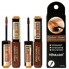 Eyebrow Gel, Brow Tint, Cream Hair Dye, Eyebrow Dye Cream, Instant Eyebrow Tint Permanent Eyebrow Color Kit, Long-Lasting, Waterproof, nondiscoloring, 2PC