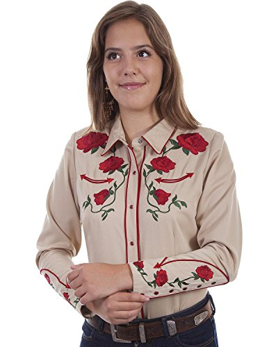 c2188a67 Scully Women's Rose Embroidered Western Shirt - Pl871-Tan   Weshop ...