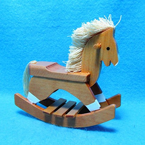 Dollhouse Miniature Wooden Rocking Horse with Mane & Tail for Nursery T - My Mini Fairy Garden Dollhouse Accessories for Outdoor or House Decor (Rocking Horse Cottage)
