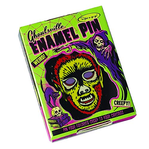 Retro-a-go-go Ghouls Ville Electric Wolf Man Enamel Lapel Pin]()