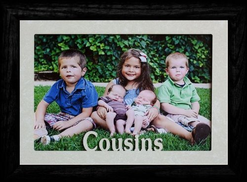 PersonalizedbyJoyceBoyce.com 5x7 Jumbo ~ Cousins ~ Landscape Picture Frame ~ Laser Cream Marble Matboard with Frame (Black)