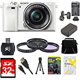 Sony Alpha a6000 White Camera with 16-50mm Power Zoom Lens 32GB Kit - Includes Camera with Lens, Memory Card, Carrying Case, Filter Kit, Battery, Battery Charger, Card Reader, DVD Training Guide, Mini Tripod, and More