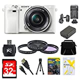 Sony Alpha a6000 White Camera with 16-50mm Power Zoom Lens 32GB Kit - Includes Camera with Lens, Memory Card, Carrying Case, Filter Kit, Battery, Battery Charger, Card Reader, DVD Training Guide