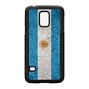 Old Grunge Metal Flag of Argentina - Bandera Oficial de Ceremonia Black Hard Plastic Case Snap-On Protective Back Cover for Samsung? Galaxy S5 Mini by UltraFlags + FREE Crystal Clear Screen Protector