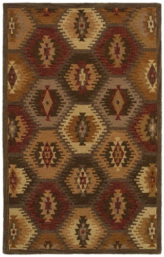 Rizzy Home SU8152-5' x 8' Southwest Collection Handtufted 100% Wool Area Rug, 5' x 8', Multi/Tan/Khaki/Olive Green/Dark - Wool Tan Camel