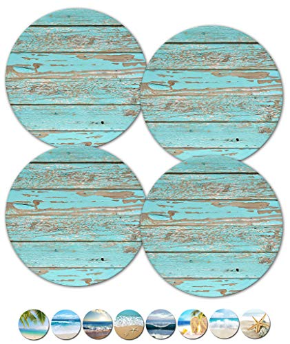 Drink Coasters, Outdoor Coasters, Beach Home Décor, Ceramic Heavy Stone Coasters, Drink Holder, Wedding Gift Ideas, Couples Gift, Set of 4 No Holder (12352 Blue Teal Rustic Grain) (Couple Ceramic)