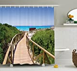 Ambesonne Seaside Decor Collection, Beach Pathway over the Woodland in Spain Countryside Cottage Summer Sun Time Print, Polyester Fabric Bathroom Shower Curtain, 84 Inches Extra Long, Green Cream Blue