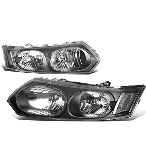 (For Saturn Ion 4-Dr Sedan Pair of Black Housing Clear Corner Headlights)
