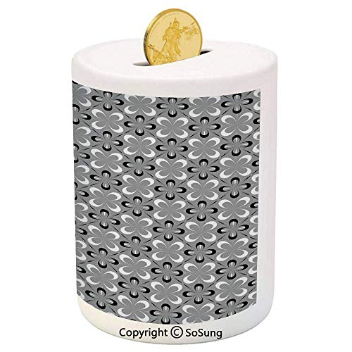 SoSung Grey Ceramic Piggy Bank,Contemporary Floral Graphic Print Various Sized Four Leaf Clovers Mod Decorative Decorative 3D Printed Ceramic Coin Bank Money Box for Kids & Adults,Gray Black White
