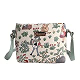 Signare Tapestry Mini Satchel Cross-body Purse Bag with Adjustable Strap also as Small Shoulder Bag in Alice in Wonderland Design (XB02-ALICE)