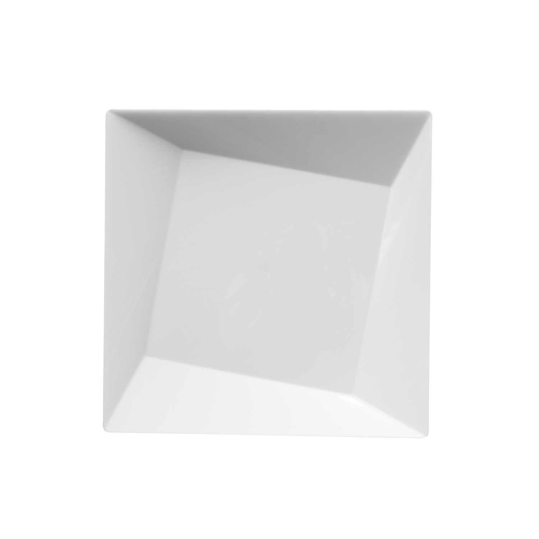 Party Essentials Hard Plastic 10 Count Square Twist Party/Dessert Plates, 6-1/2-Inch, Black N61017