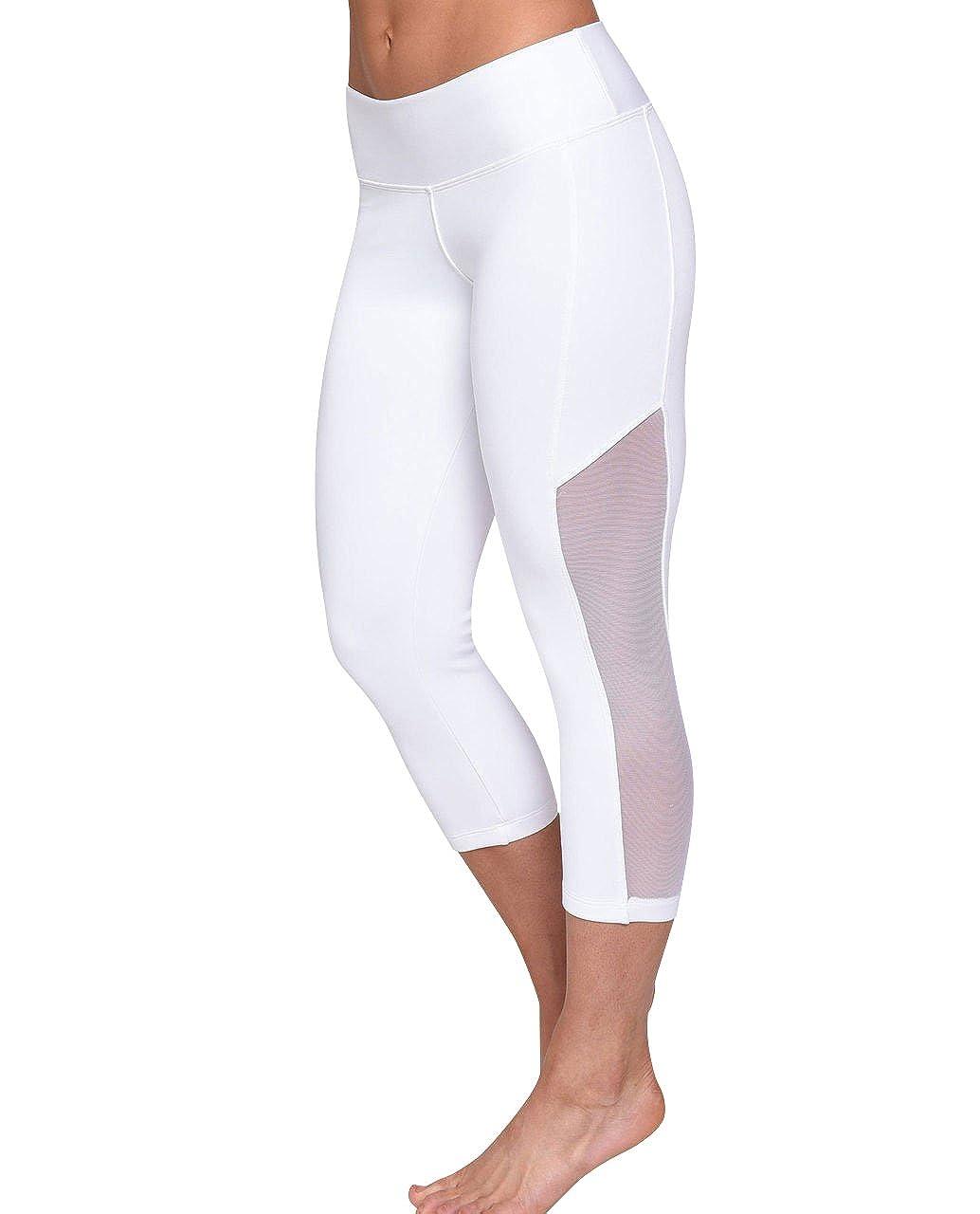 Medium White Leggings Capris Yoga Workout Fitness Tights Womens