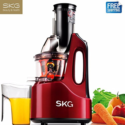 SKG Wide Chute Anti-Oxidation Slow Masticating Juicer (240W AC Motor, 60 RPMs, 3'' Large Mouth)Vertical Masticating Cold Press Juicer (Steel Stainless Valve Rev)