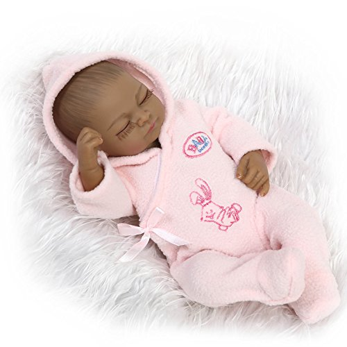 African American Sleeping Reborn Baby Doll Look Real Full Body Silicone Pink Outfit 10 Inches