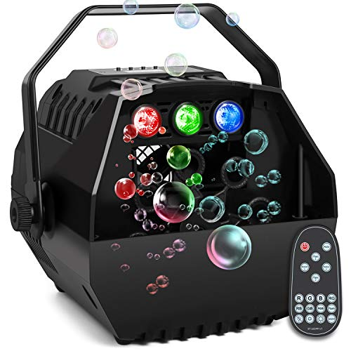 Baisun Bubble Machine With Led Lights Automatic Bubbles Blower For Kids Brithday Party,Led Screen Operation Or Wireless Remoter Control,Adjustable Speed Levels,Powered by Plug-in or Battery (Best Bubble Machine For Parties)