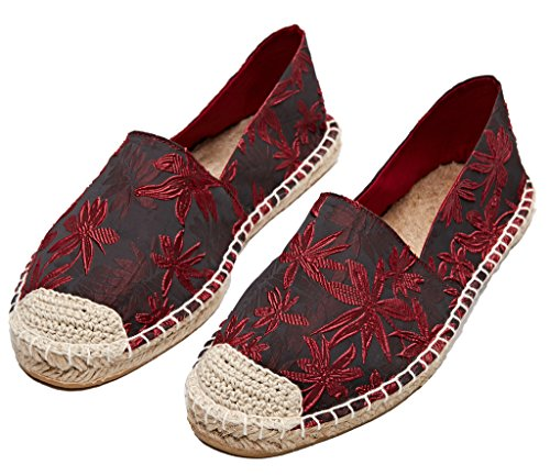 Women Red Printed Jacquard Shoes Flats Floral lite Loafers Slip On Espadrilles U xpH7Ywqw
