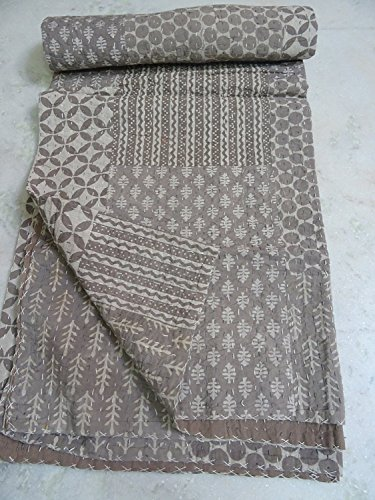 Tribal Asian Textiles Indian Antique Hand Block Kantha Quilt,cotton Bedspread,twin Size ()