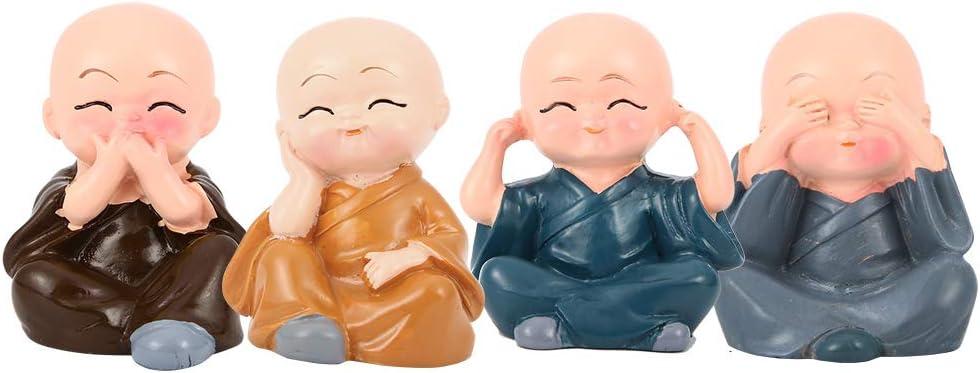 Sculpture en r/ésine Petite Statue de Figurine de Moine avec 4 Expressions Mignonnes diff/érentes pour Les Cadeaux de d/écoration de Bureau /à Domicile Hztyyier 4pcs Figurine de Moines