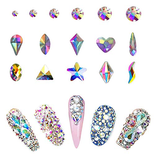 AB Nail Crystal Rhinestones Set 1500pcs, Round & Mixed 10 Shapes AB Glass Rhinestone, Flat Back Rhinestones Gems Nail Crystals for Nail Art, Clothes, Face, ()