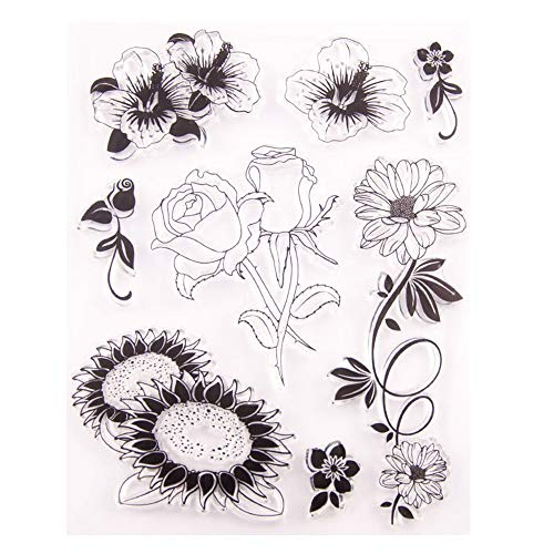 Sunflowers Hibiscus Roses Daisy Floral Rubber Clear Stamp/Seal Scrapbook/Photo Album Decorative Card Making Clear -