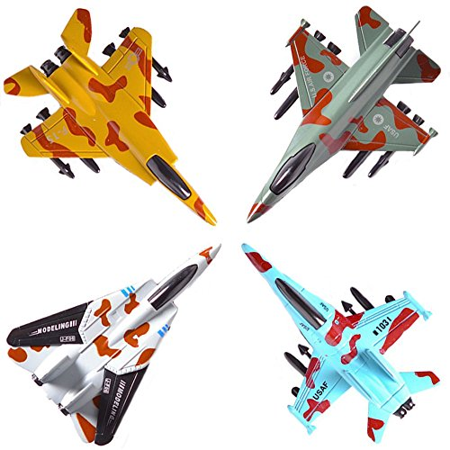 CORPER TOYS Airplane Toys Set Die Cast Metal Military Fighter Jets for Kids Boy Pullback Plane Model Pack of ()