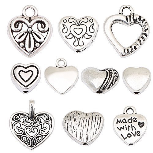 HYBEADS 100pcs Tibetan Silver Sweet Heart Spacer Charm Beads Mix Lot Heart Beads Box Set Assortment ()