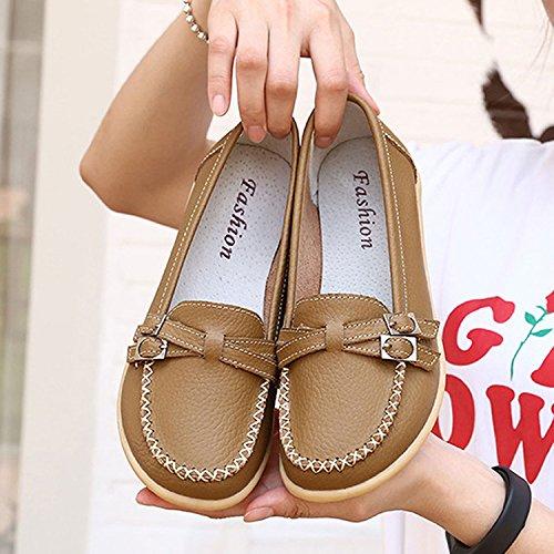 Chaussures Cuir Casual Conduite Confort Femme Gesimei Loafers Travail Kaki Mocassins Plate xq6nHUwSF8