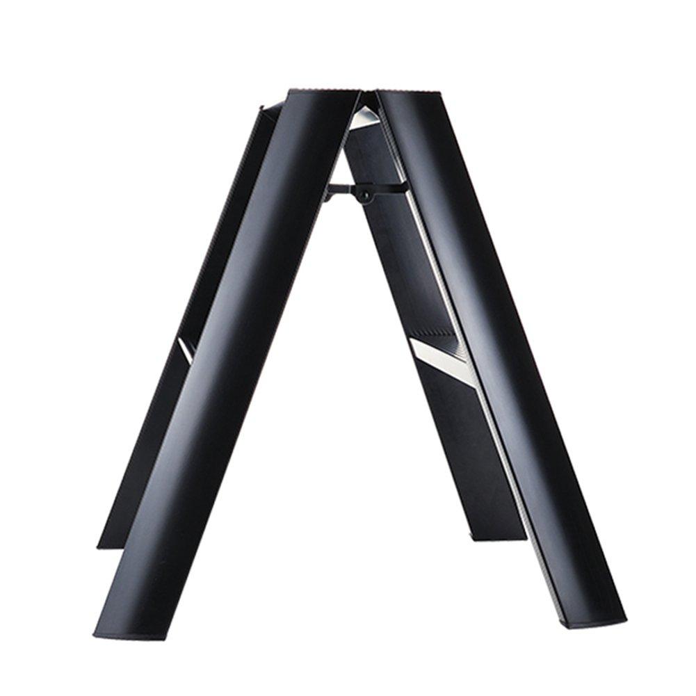 PENGFEI 折りたたみステップ折り畳み式はしご階段 アルミニウム合金 スキッドステッカーダー ポータブル 自宅 簡単な保管 高く登る 2ステップ 4色 48x56x56.6CM 脚立 踏み台ステップ チェア (色 : ブラック) B079FSXG39 ブラック ブラック