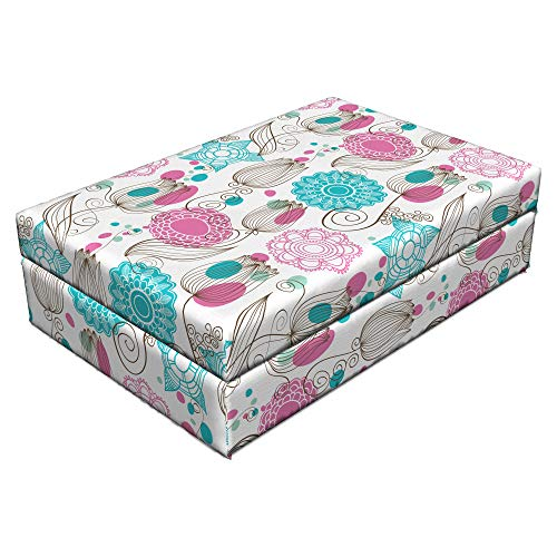 Lunarable Tulip Pet Bed, Flower Petals of Hand-Drawn Sketch Tulips of Tile Style Mandala Style Motifs, Animal Mat Foam and Stylish Printed Cover, 24