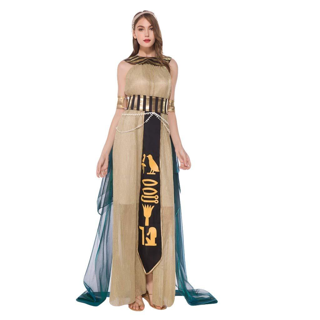 Onegirl Women Halloween Cosplay Costume Set Greek Goddess Medieval Play Long Dress Headdress Bracelet Cloak Belt Set Gold by Onegirl-dress