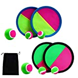 JBNEG Paddle Catch Ball and Toss Game Set Disc Toss and Catch Paddle Game with 1 Storage Bag, 4 Paddles and 6 Balls (2 Big Balls and 4 Small Balls)