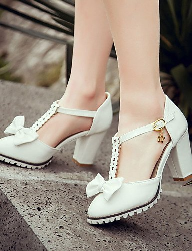 ShangYi Women's Shoes Heel Heels / Round Toe Sandals / Heels Outdoor / Dress / Casual Pink / Purple / White / Beige/F-13 Pink QmEPAqx