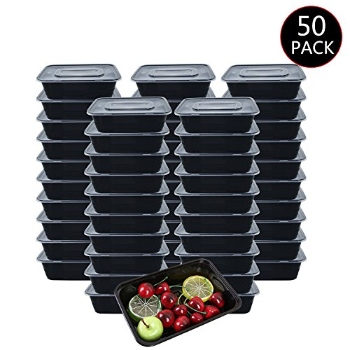 (HOMEE Meal Prep Containers 50 Pack/26oz Reusable Food Storage Containers Bento Lunch Box with Lids Made of BPA Free Plastic, Stackable, Microwavable, Freezer, and Dishwasher Safe Gift for Father's Day)