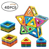 Babite 40 Pcs Magnetic Building Blocks Magnet Tiles Construction Set Educational Stacking Toys for Kids & Toddlers with Storage Box