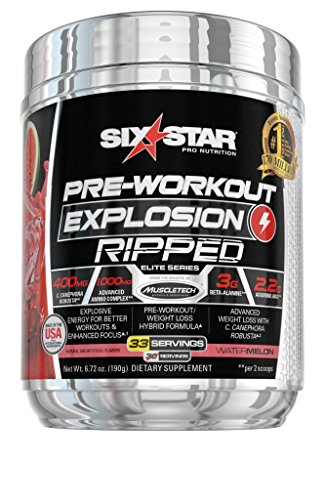 Six Star Explosion Ripped Pre Workout Thermogenic, Preworkout Energy, Weight Loss, Watermelon, 6.51 oz. (185g), 33 Servings