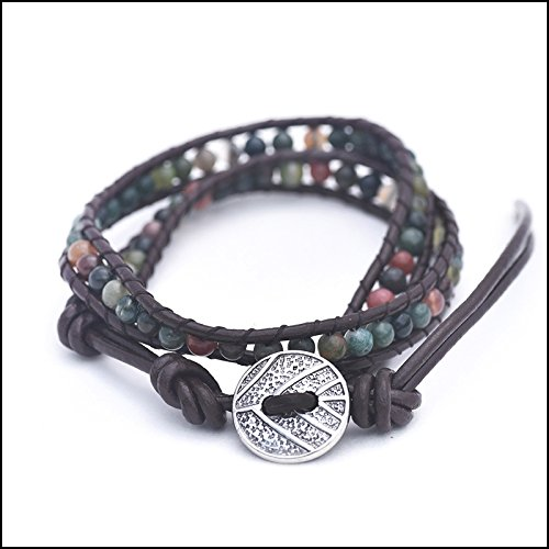 (Fresh Prints of CT Genuine Indian Agate - Semi Precious Stones and Leather Wrap Bracelet)