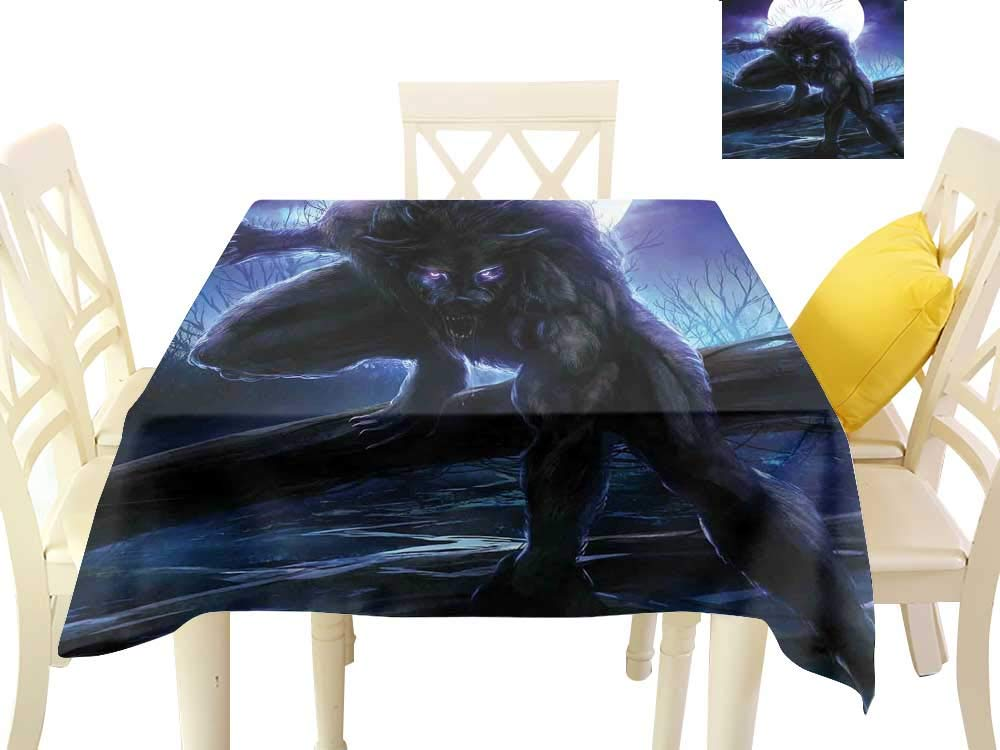 Angoueleven Fantasy World,Dinning Tabletop Decoration Surreal Werewolf with Electric Eyes in Full Moon Transformation Folkloric,Dining Table Decorations W 54'' x L 54''