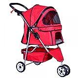 Folding Pet Stroller Wheels Mesh Cat Dog Travel Carrier Walking Jogging Red