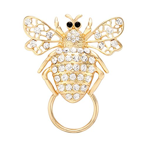NOUMANDA Exquisite Bee Magnetic Eyeglass Holder,Sunglass Hanger,Magnetic Brooch Pin - Bee Gold Sunglasses