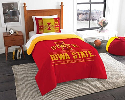 (Iowa State Cyclones - 2 Piece Twin Size Printed Comforter Set - Entire Set Includes: 1 Twin Comforter (64