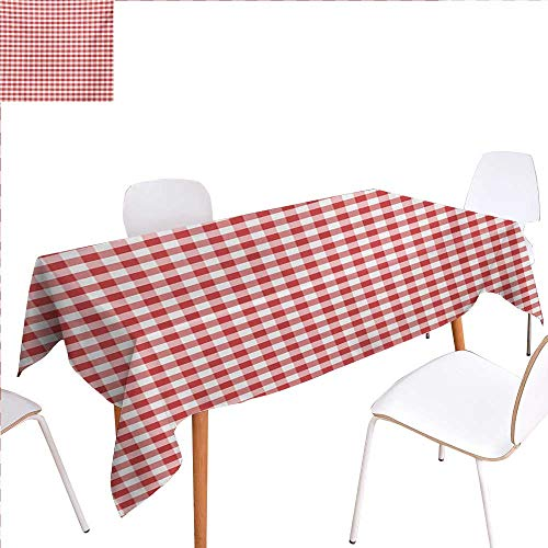 familytaste Checkered Dinner Picnic Table ClothHorizontally Striped Design Gingham Inspired Old Fashioned Traditional Print Waterproof Table Cover for Kitchen 50