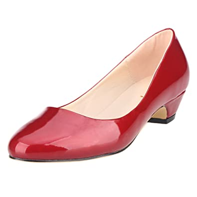 3829da33467d ZriEy Women s Patent Leather Burgundy Closed Round Toe Pumps Low Mid Kitten  Heels - 5 B