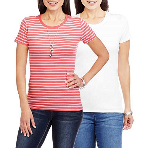 Baby Tee Crewneck Rib - Faded Glory Women's Essential Baby Rib Crewneck T-Shirt, 2 Pack Value Bundle (M, Island Coral Stripe Arctic WHI)
