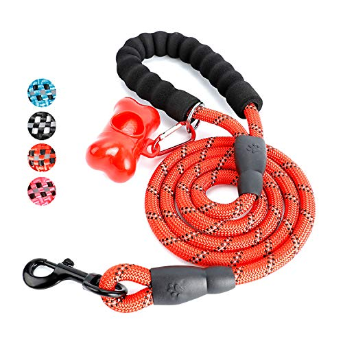 Toozey 5 FT Dog Leash, Rope Leash with Comfortable Padded Handle and Reflective Threads, Heavy Duty Braided Leash for Medium Large Dogs, Red