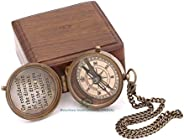Antique Nautical Vintage Directional Magnetic Compass with Famous Scripture Quote Engraved Baptism Gifts with