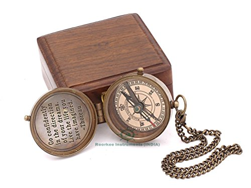 - Roorkee Instruments India Thoreau's Famous Quote Engraved Compass with Indian Rose Wood case, Camping Compass, Baptism Compass, Gift Compass, Graduation Day Gifts.