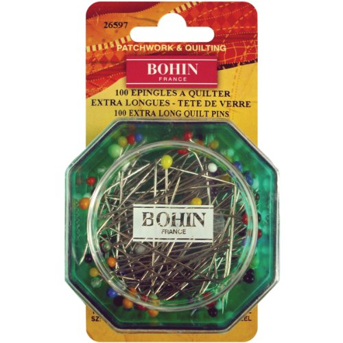 Bohin 26597 Glass Head Quilting Pins, Size 30, 100-Pack